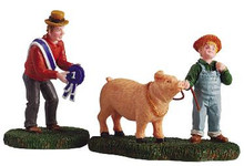 52116 -  The Prize Pig, Set of 2 - Lemax Christmas Village Figurines
