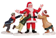 62252 -  Father Christmas!, Set of 3 - Lemax Christmas Village Figurines