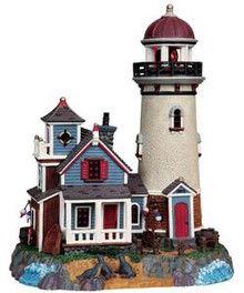 95839 -  Seal Point Lighthouse, with 3v Adaptor - Lemax Plymouth Corners Christmas Houses & Buildings