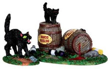 34611 - Wine Barrels, Set of 2  - Lemax Spooky Town Halloween Village Accessories