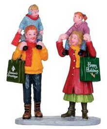 22022 - Family Xmas Shopping  - Lemax Christmas Village Figurines
