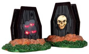34621 - Light Up Coffins, Set of 2, Battery-Operated (4.5v)  - Lemax Spooky Town Halloween Village Accessories