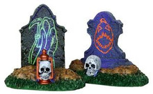 24467 - Backlit Tombstones, Set of 2, Battery-Operated (4.5v)  - Lemax Spooky Town Halloween Village Accessories