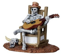22003 - Rocking Chair Skeleton  - Lemax Spooky Town Halloween Village Figurines