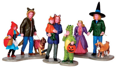 42217 - Trick or Treating Fun, Set of 4  - Lemax Spooky Town Halloween Village Figurines