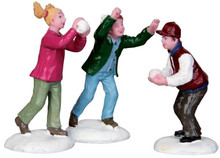 42241 - Snowball Fight!, Set of 3  - Lemax Christmas Village Figurines