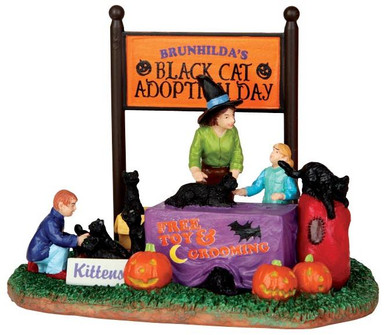 43067 - Black Cat Adoption  - Lemax Spooky Town Halloween Village Accessories