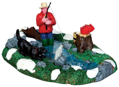 43087 - Stream Fishing  - Lemax Christmas Village Table Pieces