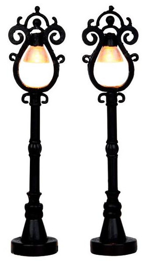 44757 - Parisian Street Lamps, Set of 2, Battery-Operated (4.5v) - Lemax Christmas Village Misc. Accessories
