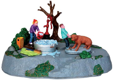 44770 - Time for a Scrub, Battery-Operated (4.5v)  - Lemax Christmas Village Table Pieces