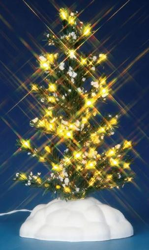 44786 - Lighted Pine Tree, Medium, Battery-Operated (4.5v) - Lemax Christmas Village Trees