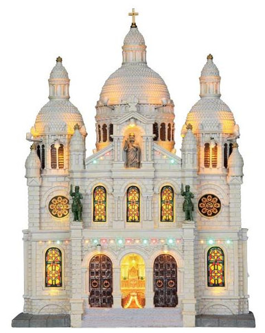 25334 - Europe Cathedral, Battery-Operated (4.5v)  - Lemax Christmas Village Facades