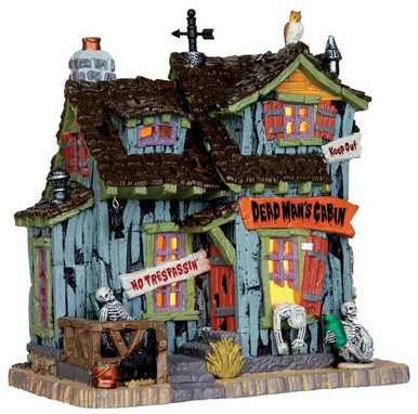 45676 - Dead Man's Cabin  - Lemax Spooky Town Halloween Village Houses & Buildings