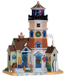 45688 - Holly Bay Lighthouse, with 4.5v Adaptor  - Lemax Plymouth Corners Christmas Houses & Buildings