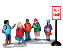 52339 - Bus Stop, Set of 3 - Lemax Christmas Figurines