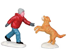 52346 - Dog in Snow, Set of 2 - Lemax Christmas Figurines