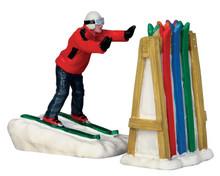 52363 - Ski Rack Disaster, Set of 2 - Lemax Christmas Figurines