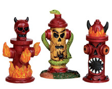 54905 - Hellfire Hydrants, Set of 3 - Lemax Spooky Town Accessories