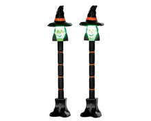 54914 - Witch Lamp Post, Set of 2, Battery-Operated (4.5v) - Lemax Spooky Town Accessories