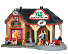 55944 - Sit-N-Stay Dog Training - Lemax Vail Village Christmas Houses & Buildings
