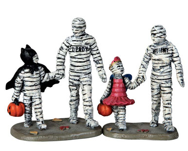 62423 - Trick or Treating with Mummy and Deady, Set/2 - Lemax Spooky Town Figurines