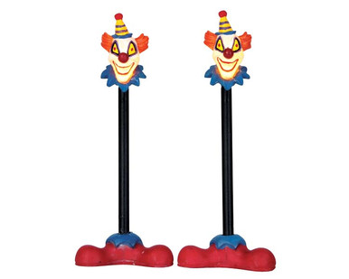 64056 - Killer Clown Lamp Post, Set of 2, Battery-Operated (4.5 Volts) - Lemax Spooky Town Accessories
