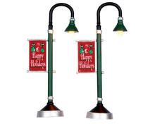 64065 - Municipal Street Lamp, Set of 2, Battery-Operated (4.5 Volts) - Lemax Misc. Accessories