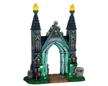 64048 - Cemetery Gate, Battery-Operated (4.5v) - Lemax Spooky Town Accessories