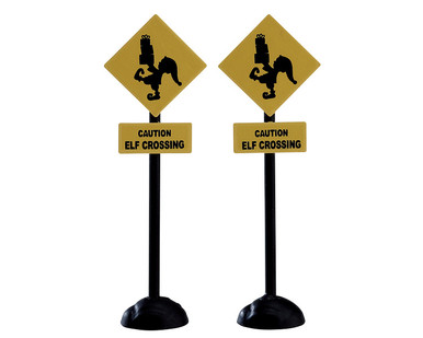 74238 - Elf Crossing Sign, Set of 2 - Lemax Misc. Accessories