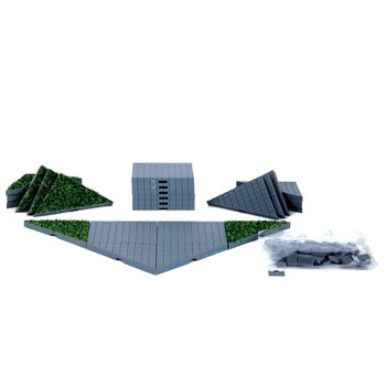64109 - Plaza System (Grey, Triangle Grass) - 24 Pieces - Lemax Landscape