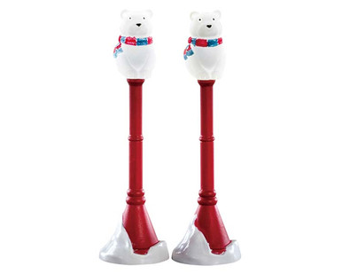 74230 - Polar Bear Street Lamp, Set of 2, Battery-Operated (4.5v) - Lemax Misc. Accessories