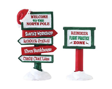74325 - North Pole Signs, Set of 2 - Lemax Misc. Accessories