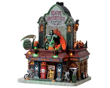 75174 - Reaper Motorcycle Co., with 4.5v Adaptor (AA) - Lemax Spooky Town Houses