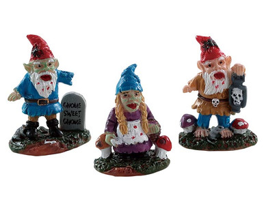 82569 - Zombie Garden Gnomes, Set of 3 - Lemax Spooky Town Figurines