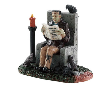 82570 - Monster Reading Spooky News - Lemax Spooky Town Figurines