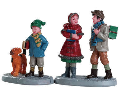 82595 - Going to School, Set of 2 - Lemax Figurines