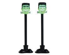 84337 - Frankenstein Lamp Post, Set of 2, Battery-Operated (4.5v) - Lemax Spooky Town Accessories