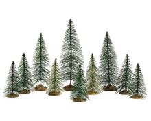 84358 - Needle Pine Trees, Set of 10 - Lemax Trees