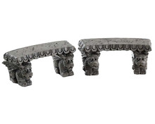 84370 - Gargoyle Stone Benches, Set of 2 - Lemax Spooky Town Accessories