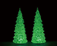 94517 - Crystal Lighted Tree, 3 Color Changeable, Medium, Set/2, Battery-Operated (4.5-Volt) - Lemax Trees