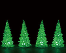 94518 - Crystal Lighted Tree, 3 Color Changeable, Small, Set/4, Battery-Operated (4.5-Volt) - Lemax Trees
