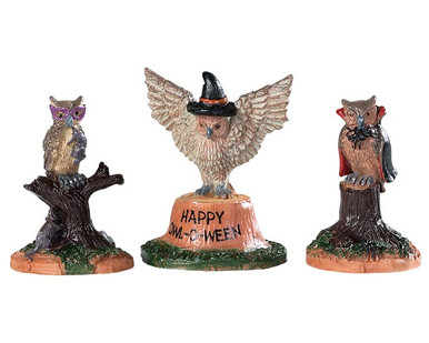 94524 - Happy Owl-O-Ween, Set of 3 - Lemax Spooky Town Accessories