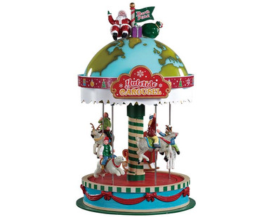 94525 - Yuletide Carousel, Battery-Operated (4.5-Volt) - Lemax Table Pieces; Lemax Santa's Wonderland