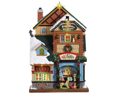 95471 - Merry Christmas Market, Battery-Operated (4.5-Volt) - Lemax Facades