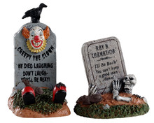 04711 - Crazy Headstones, Set of 2 - Lemax Spooky Town Accessories