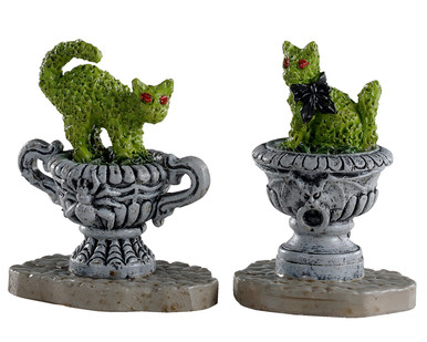 04714 - Haunted Topiary, Set of 2 - Lemax Spooky Town Accessories