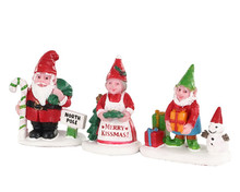 04739 - Christmas Garden Gnomes, Set of 3 - Lemax Misc. Accessories