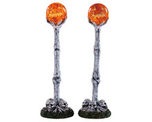 94490 - Lighted Lantern Bone Post, Set of 2, Battery-Operated (4.5-Volt) - Lemax Spooky Town Accessories