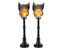 14829 - Gargoyle Lamp Post, Set of 2, Battery-Operated (4.5v) - Lemax Spooky Town Accessories
