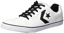 Converse Men's EL Distrito Canvas Low Top Sneaker, White/Black/White